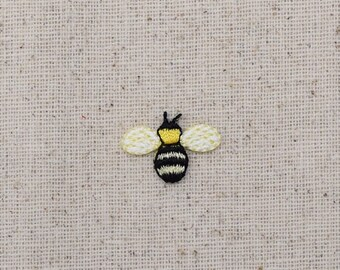 Mini Bumble Bee - Yellow and Black - Iron on Applique - Embroidered Patch - 116102B