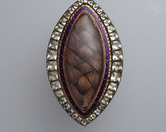 Large Georgian Mourning or Sentimental Gold Hair Locket Brooch with Paste Surround Circa 1795