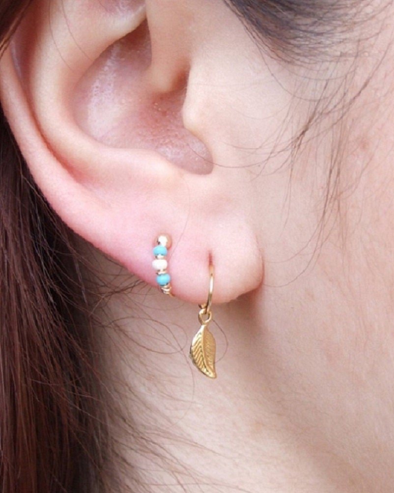 Set Of 3 8mm Gold Hoop Earrings For 2nd And 3rd Ear Piercings, Helix (
