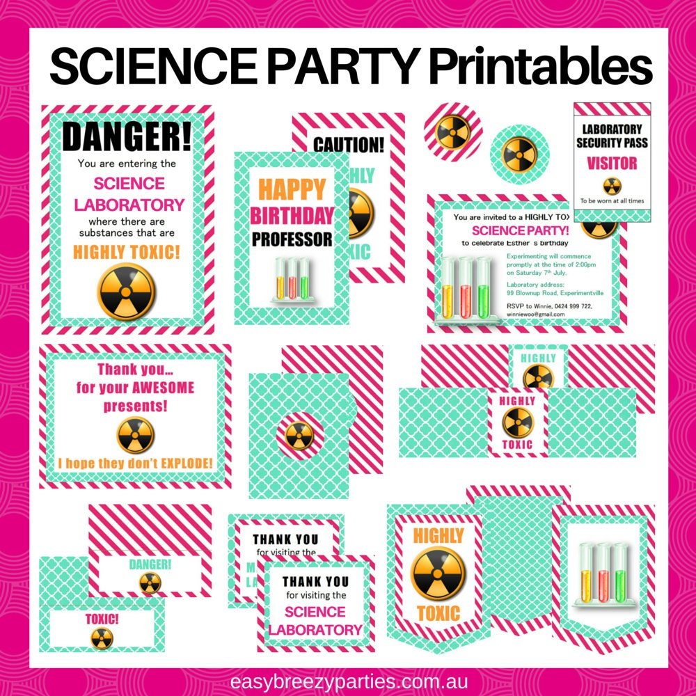 PINK Science Party DELUXE Printable Pack Invitations Signs