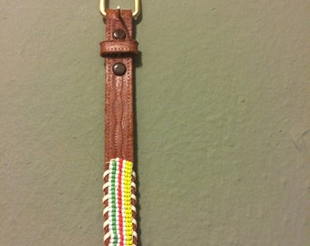 Mexican Hand-beaded & Tooled Leather Belt