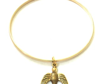 Bird Charm Bracelet - Gold Bird Bangle - Gold Bird Bracelet - Bird Bangle - Bird Bracelet - Gold Jewelry - Stacking Bangles