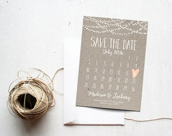 Save the Date Card, Calendar Printable, Simple Wedding Announcement, Kraft Paper, Rustic, Custom Colors, White Neutral Classy