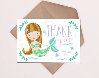 Mermaid Thank You Card Printable Instant Download, Under the Sea Pool Swim Party, DIY Thank Yous, Mermaids Girl Birthday Thank You, Girly