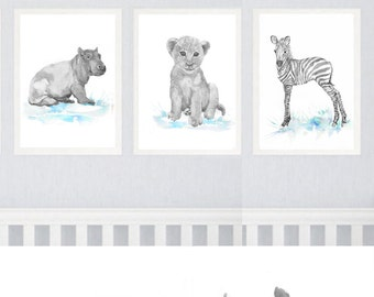 Neutral Nursery Decor Safari Art Set of 6 Prints  Baby Watercolor Painting  Boy  Girl  Animals Gray Blue Wall art Watercolour Print Painting