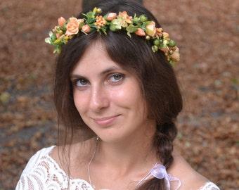 Wedding Flower headband Peach Bridal headpiece Bridal crown Bridal flower crown Bridal hairpiece Wedding halo Wedding headband Peach crown