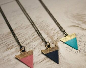 Triangle Necklace, Geometric Necklace, Triangle Pendant, Black Triangle Necklace, Layering Necklace, Triangle Jewelry, Geometric Jewelry
