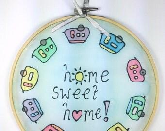 Silk Sun Catcher ~ Caravan Wall Decor ~ Campervan Suncatcher ~ Home Sweet Home Art ~ Wall Decorations ~ Window Decoration ~ Camper Van Lover