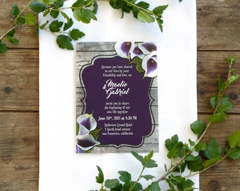Calla Lily Wedding Invitation for Rustic Wedding • Printable Wedding Invites • Purple Calla Lily Invitation • Floral Invitation with Wood