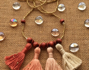 Ombre Peach, Pink, and Cream Multi-Tassel Necklace