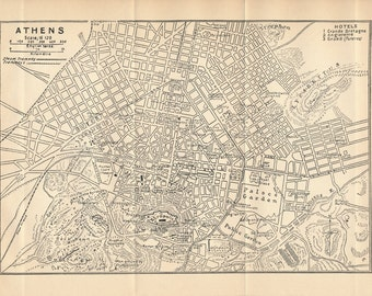 1929 Athens Greece Antique Map