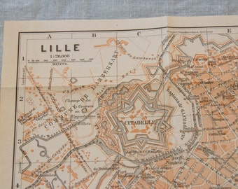 1910 Lille France Antique Map