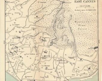 1905 Cannes France Antique Map