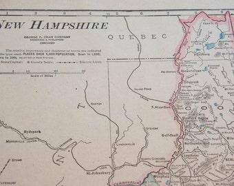 1919 New Hampshire Antique Map