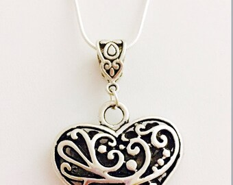 Antiqued Heart Necklace- 18 inch Sterling Silver Chain