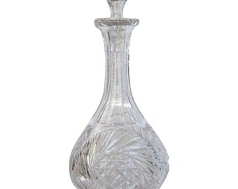 Antique Crystal Cut Glass Decanter ABP Glass Wine Decanter American Brilliant Period Pin Wheel Pattern Zipper Neck Mushroom Stopper