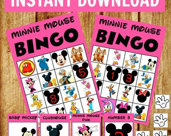 14 bingo cards - Minnie Mouse Bingo Game Set - Birthday Party Game - Instant Download