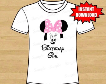 Minnie Mouse Ears Iron On Tshirt shirt Transfer - Minnie Mouse Ears Head - Disney Inspired Printable - Birthday Girl - Instant Download