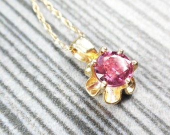 Vintage Genuine Ruby Necklace Drop Necklace Pendant 14k Gold Buttercup Setting Minimalist Natural Ruby Necklace Red Stone July Birthstone