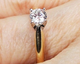 Vintage Diamond Engagement Ring 14k Gold Engagement Ring Round Diamond Ring 14k Diamond Ring Solitaire Promise Wedding Bridal Size 6