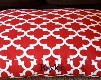 Red Quatrefoil Dog Bed ||  Extra Large Moroccan Custom Personalize Pillow Cover || Add Pets Name Personalized Gift by Three Spoiled Dogs