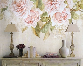 "Vintage Rose Wallpaper Romantic Flower Wall Mural Art Ivory Cream Beige Pink Wall Decal Spring Summer Powder Room Home Decor 55.5"" x 29.5"""