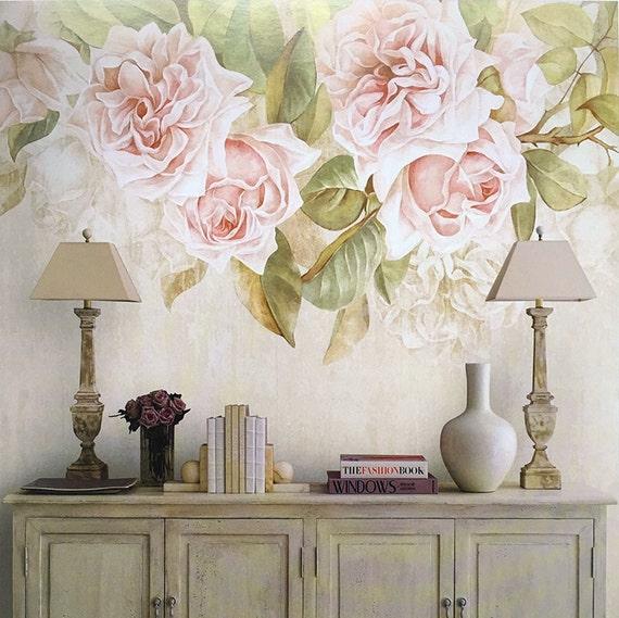 Vintage Rose Wallpaper Romantic Flower Wall Mural Art Ivory