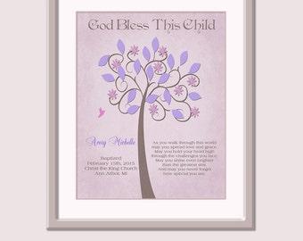 Girls Baby Christening Gift - Baptism - Nursery Art Little Girl - Gift For Baptism - Naming Day Gift - Baptism Poem - Tree Art For Nursery