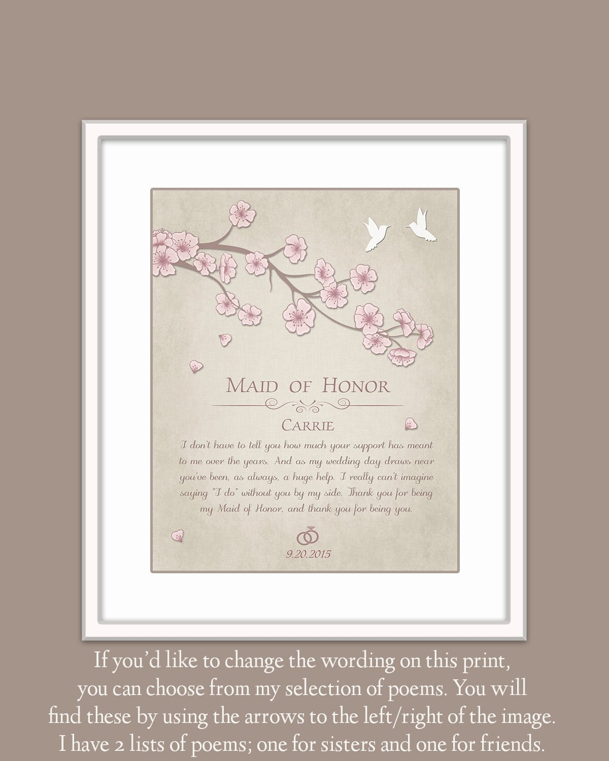 Maid Of Honor Gift Gift For Maid Of Honor By GoldHousePrints