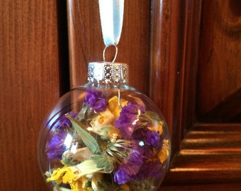 Dried Snapdragon and Statice Ornament