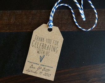 Wedding favor tag, favor tag, gift tag, party tag, custom tag, thank you for celebrating with us tag - TWINE included