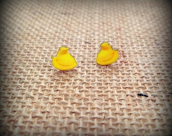 Marshmallow Peeps - Peep Earrings - Chick Earrings - Yellow Chicks - Chick Jewelry - Peep Jewelry - Peep Fan - Confections - Easter Peeps
