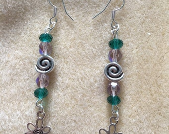 Green and Purple Glass and Swirly Flower Dangle Earrings