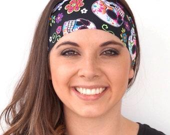 Sugar Skulls   Black w/ Bright Colors   Fitness headband   Yoga headband   Workout headband   Running headband   Buy Any 4, Get 1 FREE!