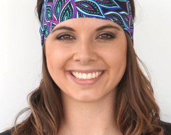 Glowing Peacock | Fitness headband | Yoga headband | Workout headband | Spandex | Running headband | Bandana | Buy Any 4, Get 1 FREE!