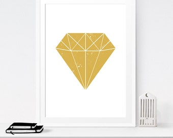 Gold decor, Diamond painting, Download prints, Minimalist wall art, 12x16 print, Modern wall decor, Diamond print, Graphic poster, Yellow