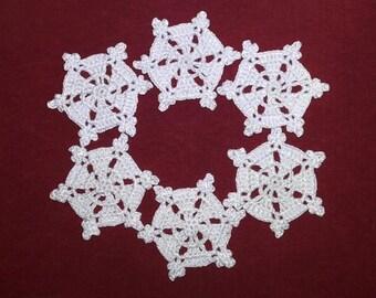 Snowflakes crochet Set of 6 Christmas tree decor Crochet christmas decoration Crochet Christmas tree ornaments Home decor