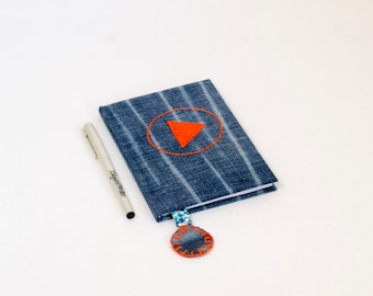 PLAY Button, Journal, Notes, Diary, Notebook, Recycled Jeans, Hand embroidery, Play Notebook, fabric covered journal
