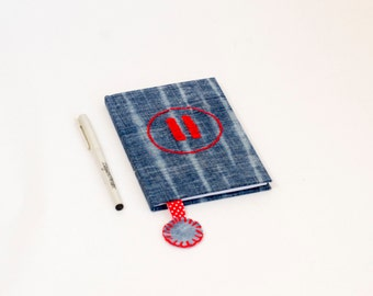 PAUSE Button,  Journal, Notes, Diary,  Recycled Jeans, Hand embroidery, Recycled denim, Pause Notebook, fabric covered journal