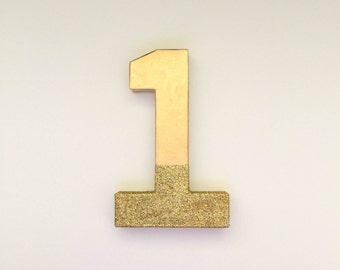 8 Inch Gold Glitter Dipped #1 First Birthday Photo Prop, Gold Photo Prop, Gold Glitter, Cardboard Number 1, First Birthday Number One