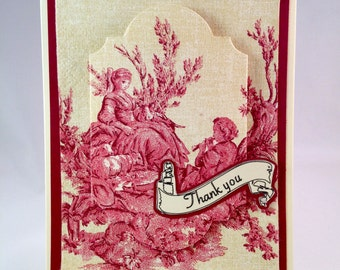 Red Toile Thank You Card