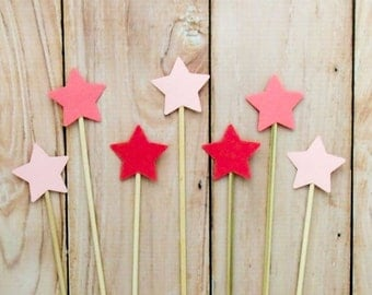 Blush Ombré Star Cake Topper, Shades of Coral Cake Toppers, Shades of Blush Wedding Cake Topper, Star Cake Picks, Blush Party Shower Decor