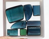 8 pieces, Lot, Dark Tourmaline Cabs, Rectangluar and Freeform, Midnight Blue and Dark Green, Mixed sizes, 41.85ct total weight