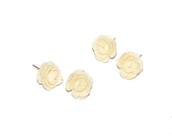 Rose Earrings - Ivory Cream White Rose Stud Earrings - SALE - Small SImple Feminine