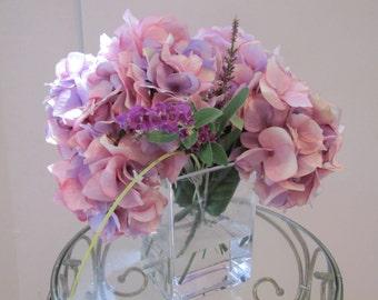 Beautiful silk flower arrangement centerpiece-purple Hydrangea and lavender in glass vase with faux water