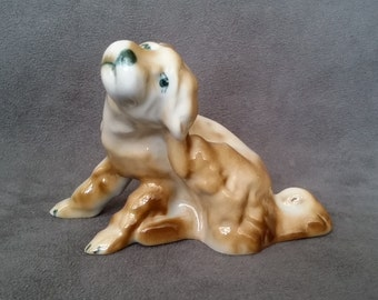 Zsolnay Hungary 50s Dog Figurine, Vintage Glazed Porcelain Dog Statue, Hungarian Collectible Dog Figurine