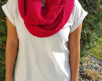 Red Infinity Scarf, Red Scarf, True Red Scarf, Red Crochet Scarf, Red Crochet Infinity Scarf, Red Loop Scarf