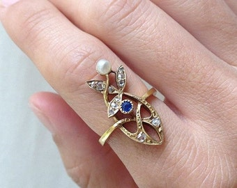 Art Nouveau Sapphire Pearl and Rose Cut Diamond 18K Ring