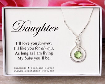 Gift for Daughter I'll love you forever sterling silver infinity necklace with Swarovski birthstone in a box birthday gift