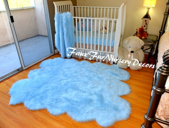 Blue Faux Fur Rug by FauxFurNurseryDecors